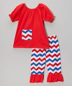 Red & Blue Top & Chevron Capri Pants - Toddler & Girls