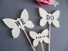 possible diy wedding cake topper -- hearts or birds instead of butterfly Wedding Cake Prices, Floral Wedding Cakes, Fall Wedding Cakes, Wedding Cake Designs, Wedding Cupcakes, Custom Wedding Cake Toppers, Wedding Table, Wedding Flowers, Wedding Dresses