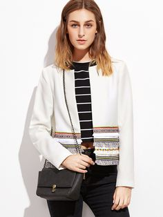 Shop White Collarless Blazer With Embroidered Tape And Fringe Detail online. SheIn offers White Collarless Blazer With Embroidered Tape And Fringe Detail
