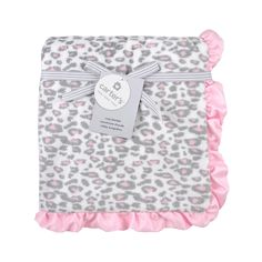 Wrap up your little one in this adorable Carter's Velour Sherpa Blanket featuring a leopard print snuggly-soft white velour; it's backed with white Sherpa fabric and has an matte satin ruffle pink trim. The perfect mix of fashion and function, it makes a fantastic gift for any new baby.