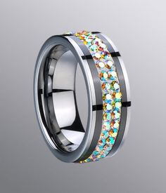 Polished Tungsten Ceramic Band with Colorful Crystal & White Resin Inlay