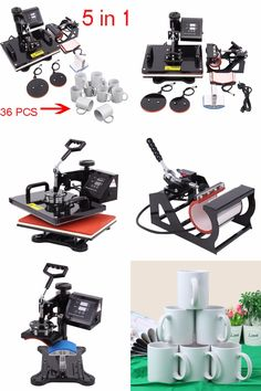 [Visit to Buy] (Ship from EU) 5 in 1 Heat Press Machine Swing Away Heat Sublimation Transfer with 36pcs Mugs for T-Shirt Mug Cup Hat Plate #Advertisement