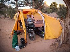 The Nomad Motorcycle Tent... Wild Hog it and pamper your ride too! http://camplovers.com/how-to-heat-a-camping-tent/