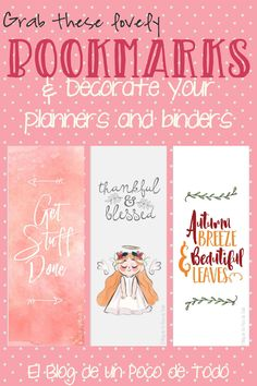 New Post! Download these free printable bookmarks and enjoy organizing your planner, and marking your favorite books : ) #PinofTheDay #Pinterest #Bookmarks #Printable #Download #FreePrintable #Books #kawaii