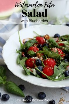 Perfect watermelon feta salad for a hot summer day! Watermelon Feta Salad with Blueberries: 10-min summer salad recipe with Asian-style vinnaigrette. Vegetarian Main Course, Vegetarian Comfort Food, Vegetarian Recipes Dinner, Vegan Dinners, Vegan Recipes, Summer Salad Recipes, Summer Salads, Watermelon And Feta, Happy Kitchen