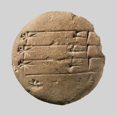 ~ Cuneiform tablet: student exercise tablet.  Period: Old Babylonian  Date: ca. 20th–16th century B.C.  Place of origin: Mesopotamia  Culture: Babylonian  Medium: Clay
