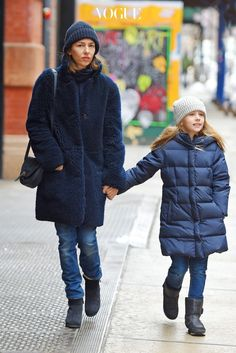 UK CLIENTS MUST CREDIT: AKM-GSI ONLY Director Sofia Coppola stepped out in SoHo with her daughter Romy on Monday afternoon, bundled for the freezing New York weather. Romy was dressed like Sofia's little mini-me in a beanie, navy blue coat, jeans and black boots. Pictured: Sofia Coppola and Romy Mars Ref: SPL931384 190115 Picture by: AKM-GSI / Splash News