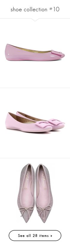 """""""shoe collection #10"""" by julidrops ❤ liked on Polyvore featuring shoes, flats, pink, pink flats, pink flat shoes, metallic flats, pink ballet flats, ballet flats, pink patent leather flats and pink patent leather shoes"""