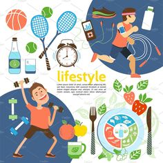 Flat healthy lifestyle poster with athletes sport equipment sneakers alarm clock proper nutrition vector illustration. Nutrition Poster, Proper Nutrition, Healthy Lifestyle Tips, Healthy Tips, Healthy Eating, Poster Design, Healthy Living Magazine, Dinners For Kids
