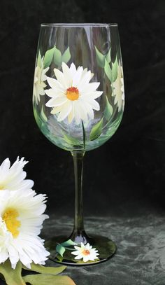 Hand Painted Wine Glasses (Set of 2) - White and Yellow Daisies on Green Stem Glass by SilkEleganceFlorals on Etsy