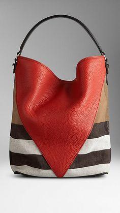 Mittelgroße Hobo-Tasche mit Canvas Check-Muster und Chevron aus Leder   Burberry
