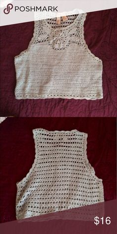 Crochet crop top The actual color of the top is more of a really light turquoise. From forever 21 Brandy Melville Tops Crop Tops