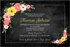 Floral Bouquet Chalkboard Quinceanera Invitation