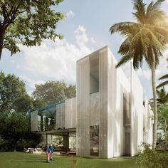 located in miami beach, this property designed by sordo madaleno arquitectos is positioned between a golf club and a protected area of natural land. Miami Beach, Amazing Architecture, Architecture Design, Miami Houses, Florida, Property Design, Coral Gables, Decor Styles, Exterior