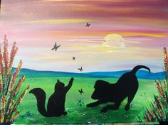 Pets at Play Paint And Sip, Landscaping With Rocks, Beautiful Things, Flow, Moose Art, Landscape, Pets, Creative, Painting