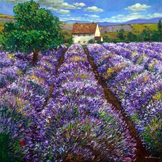 Aspen Art, Birch Tree Paintings, and European Landscapes a-painting-a-day by Jennifer Vranes Lavender Fields, Lavender Flowers, Hydrangea Colors, French Lavender, Lavander, Landscape Art, Landscape Paintings, Landscapes, Lavendar Painting