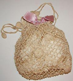 Vintage Cream Drawstring Crochet and Satin Purse Handbag Early 1900's