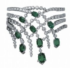 Cartier emerald and diamond choker