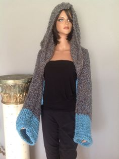 Shrug Sweater Hoodie Slouchy Hand Knit Boucle Yarn 2 Tone Designer Fashion Hip #HANDKNITS2LOVEMy4SeasonHandKnits #ShrugSweaterHoodie