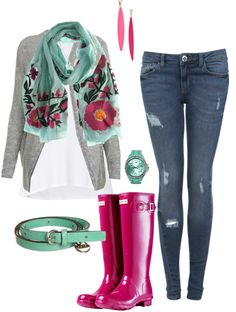 """styling Hunter Rain boots :)"" by halierex ❤ liked on Polyvore"