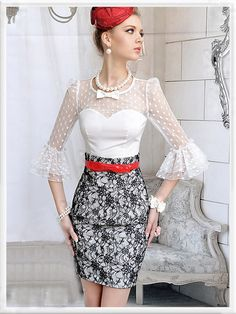 ImpressionSense - White Bow Mesh Dots Trendy Flare Sleeve Shirt