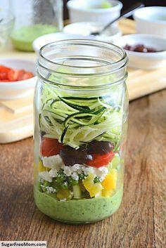 Mason Jar Zucchini Pasta Salad with Avocado Spinach Dressing