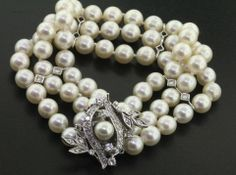Vintage multi strand pearls & diamonds bracelet
