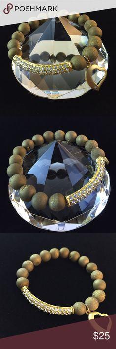 "Druzy Bracelet 7.5""L gold druzy stretch bracelet with gold tone metal Crystal like bar and dangling heart design. Style 002 D.Green Designs Jewelry Bracelets"