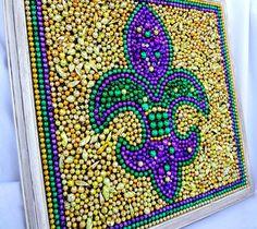 Framed Mardi Gras bead Fleur De Lis purple green by BayoulandBeads, $60.00