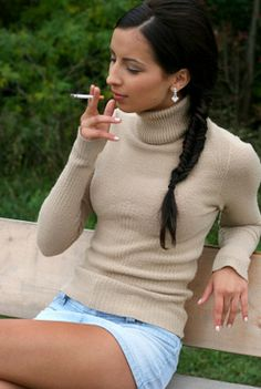 Girl Smoking Long Black Hair Braid
