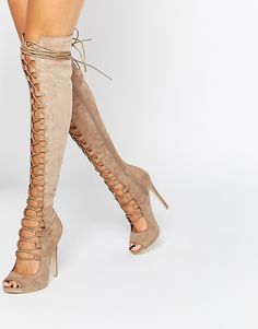 Image 1 ofDaisy Street Taupe Lace Up Ghillie Over The Knee Boots