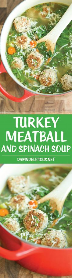 Turkey Meatball and Spinach Soup - A quick and easy hearty soup for any night of the week. And you can even cook/prep/freeze the meatballs beforehand!