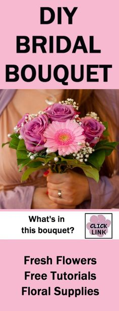 DIY Pink Wedding Bouquet - Easy Flower Tutorials - Dainty bouquet with combination of flowers and greenery.