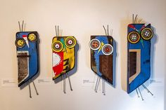 Four Owls.  Sculptures by #gregcorman