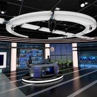 tv virtual stage news studio 3d model