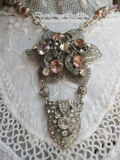 vintage artisan repurposed jewelry - rhinestones & beads