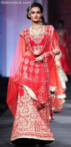Lehenga in classic red and gold combination
