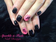 Entity Gel Polish - Black and pink with hand painted feathers - Done by Christine Ingalls of Sparkle and Fade Nail Design  https://www.facebook.com/SparkleAndFadeNailDesign