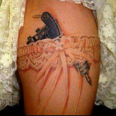 Cool 3D tattoo I like the garter minus the gun