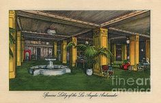 A vintage postcard view of the Los Angeles Ambassador Hotel lobby.