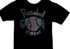 There's no crying in baseball and no one know this better than a BASEBALL SISTER!  Rivcoera Custom Made bedazzled baseball sister tee - make a statement this playoff season. #baseball #sister