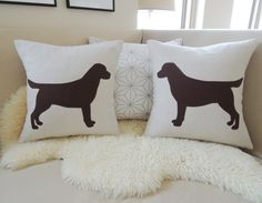 Pair of Labrador Retriever Pillow Covers Lab Dog by VixenGoods, $110.00