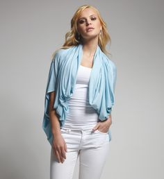 RED SHRUG SCARF – WHITE SHRUG BLOUSE – BLUE SHRUG SHAWL