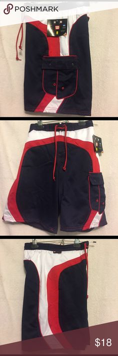 Wilson Navy / Red / White Board / Swim Trunks NWT: Wilson swim trunks / board shorts. Material is 100% polyesters and has that satiny feel to it. Elastic waist in back, Velcro for zip / fly with tie waist. Key pocket in front & side pocket with snap closer on leg. Size M (10-12).  Waist (unstretched) = 25 inches. Length = 18 inches Wilson Swim Swim Trunks