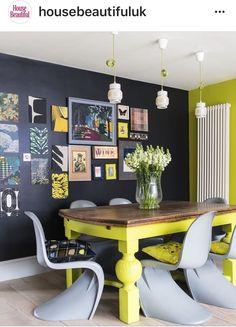 Black, Grey and Citrus Green Dining Room | #BlackDiningRoom | #GreenDiningRoom