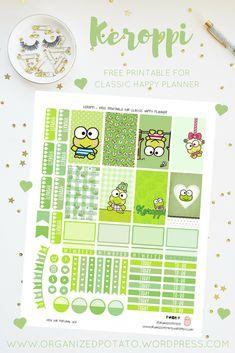 Free Printable Keroppi Planner Stickers from Organized Potato