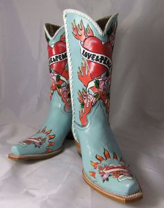 Liberty's Love & Peace Hand Painted Blue Cowboy Boots #LibertyBoot #CowboyWestern