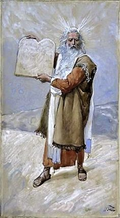 Moses and the Ten Commandments // c. // James Tissot // The Jewish Museum, NY // Images Bible, Bible Pictures, Monte Sinai, La Sainte Bible, Jewish Museum, Bible Illustrations, Moise, Ten Commandments, Biblical Art