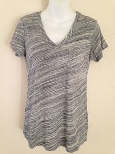 Gap Maternity Top Shirt Pocket V Neck Size S / Small Striped Gray NWT #GAP #Blouse #Casual