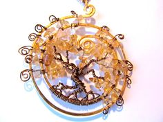 Citrine Tree of Life Necklace,  Excellent Quality Citrine Stones, Bronze and Gold wire on an adjustable chain. $35.00, via Etsy.